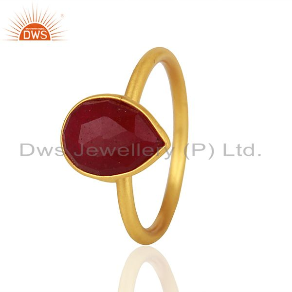 Suppliers Ruby Red Gemstone Gold Plated 925 Silver Rings Jewelry Manufacturer
