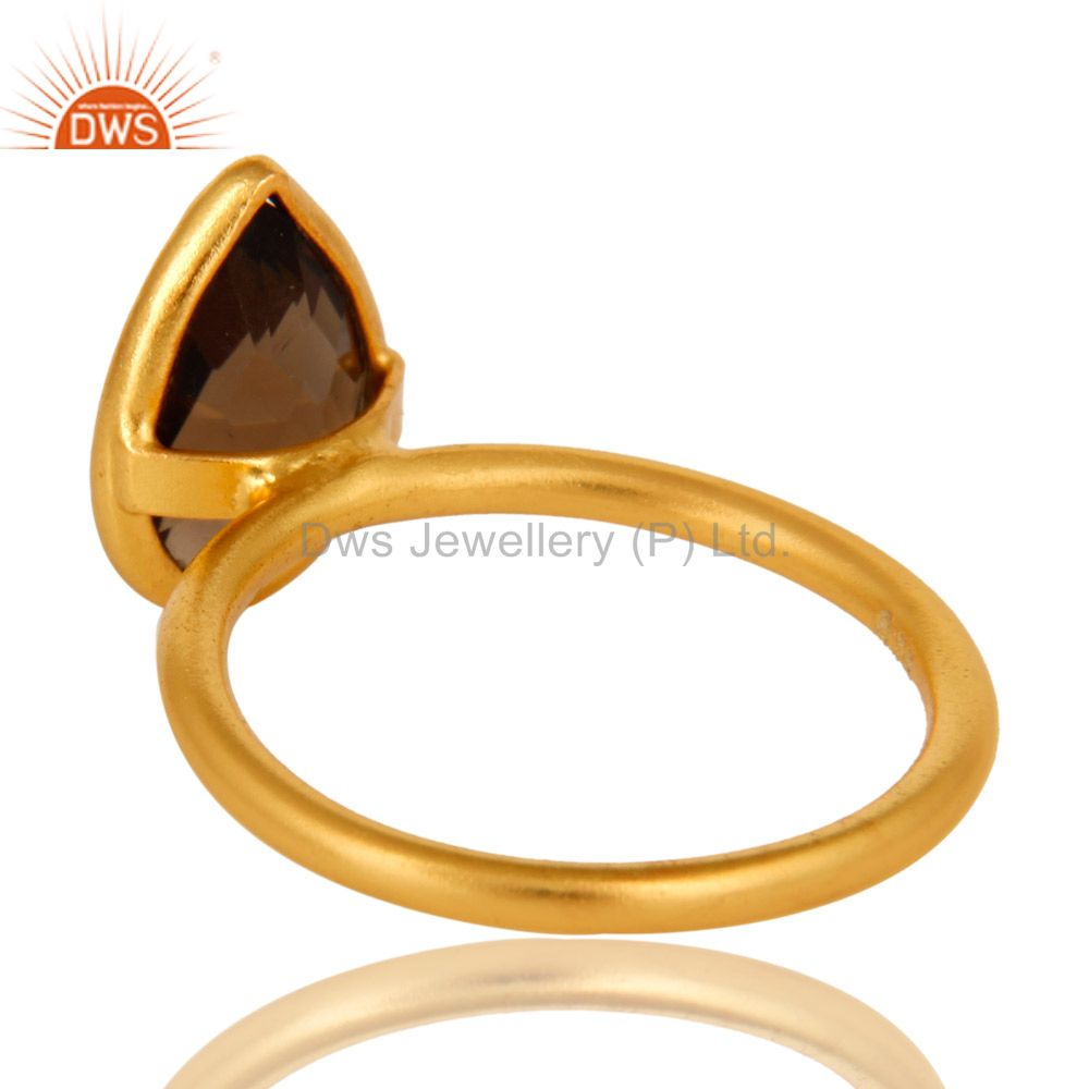 Designers 18K Yellow Gold Plated Sterling Silver Smoky Quartz Bezel Set Stackable Ring