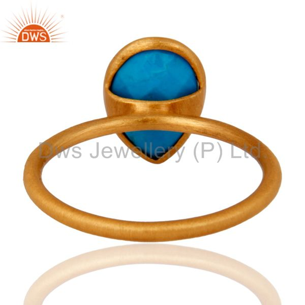 Designers Turquoise Gemstone Sterling Silver Stacking Ring With Yellow Gold Plated