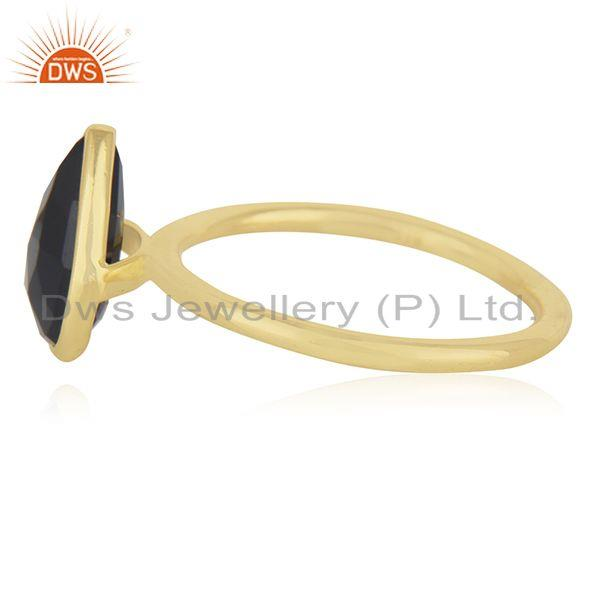 Suppliers Black Onyx Gemstone 925 Sterling Silver Gold Plated Ring Manufacturer from India