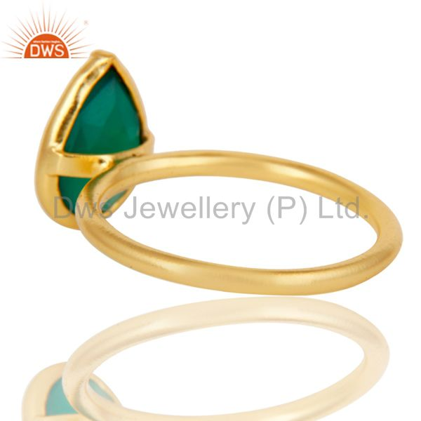 Designers 18K Yellow Gold Plated Sterling Silver Green Onyx Pear Stackable Ring