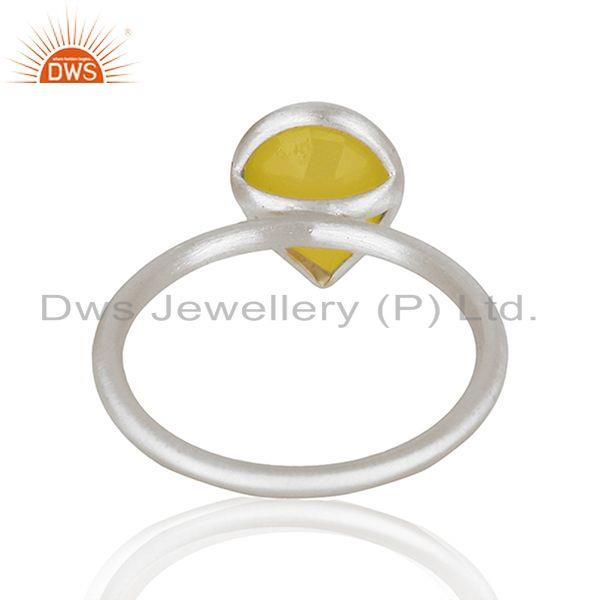 Suppliers Wholesale 925 Sterling Silver Yellow Chalcedony Gemstone Ring Jewelry