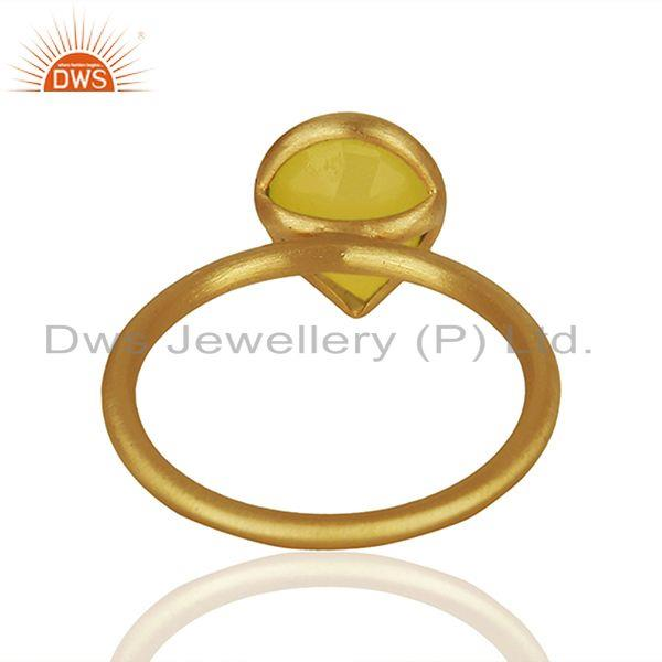 Suppliers 925 Silver Golod Plated Yellow Chalcedony Gemstone Ring Jewelry