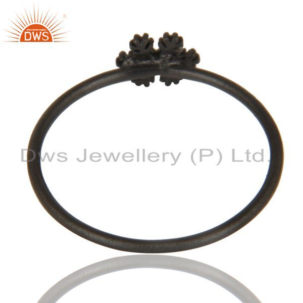 Suppliers Black Oxidized 925 Sterling Silver Handmade Art Fashion Stackable Ring Jewelry