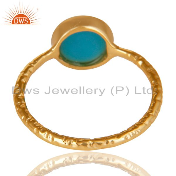 Suppliers 14K Yellow Gold Plated 925 Sterling Silver Handmade Turquoise Stackable Ring