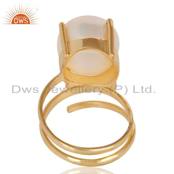 Suppliers 14K Yellow Gold Plated Beautiful Handmade Design Pearl Stackable Brass Ring