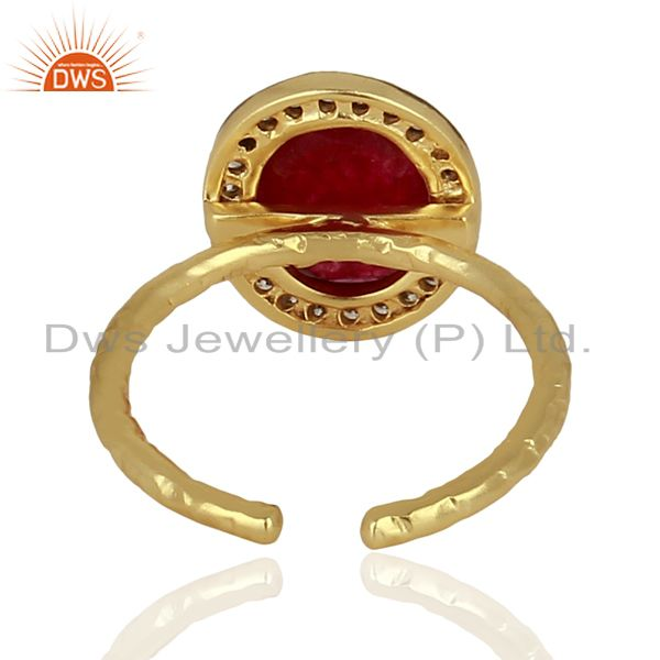 Suppliers Red Avnturine Gemstone CZ Gold Plated Brass Fashion Ring Supplier