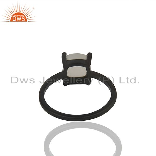 Suppliers White Moonstone Black Rhodium Plated 925 Silver Rings Wholesale