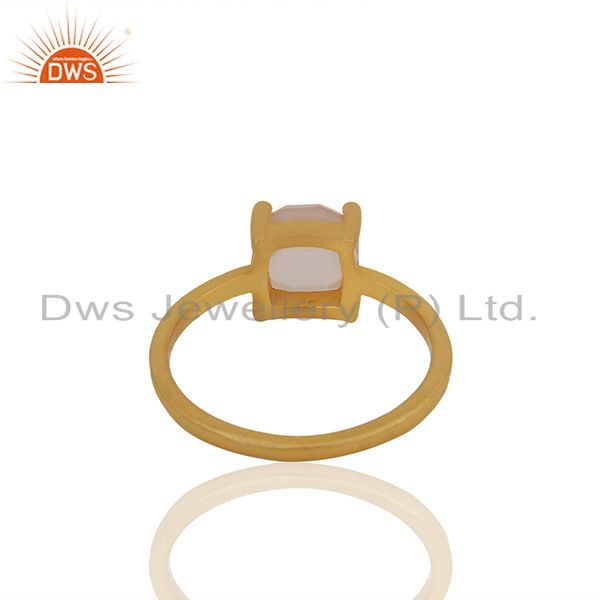 Suppliers Rose Chalcedony Gemstone Gold Plated 925 Silver Rings Manufacturer