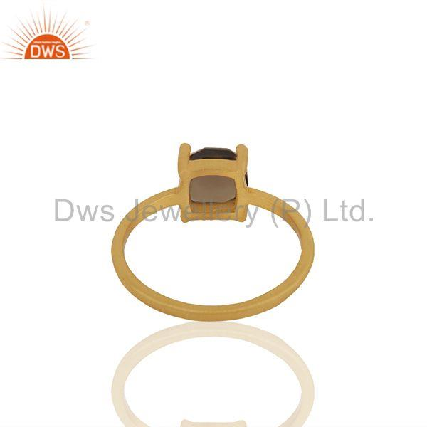 Suppliers Smoky Quartz Gemstone 925 Silver Gold Plated Rings Manufacturers