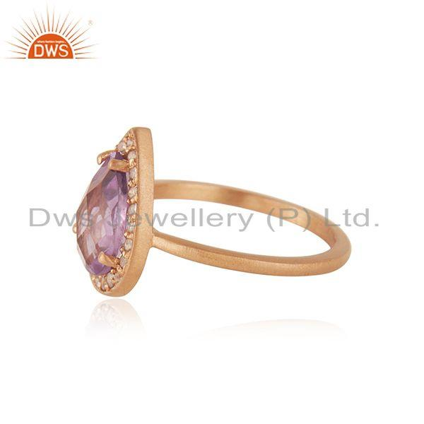 Suppliers Rose Gold Plated 925 Silver Topaz Amethyst Gemstone Ring Jewelry