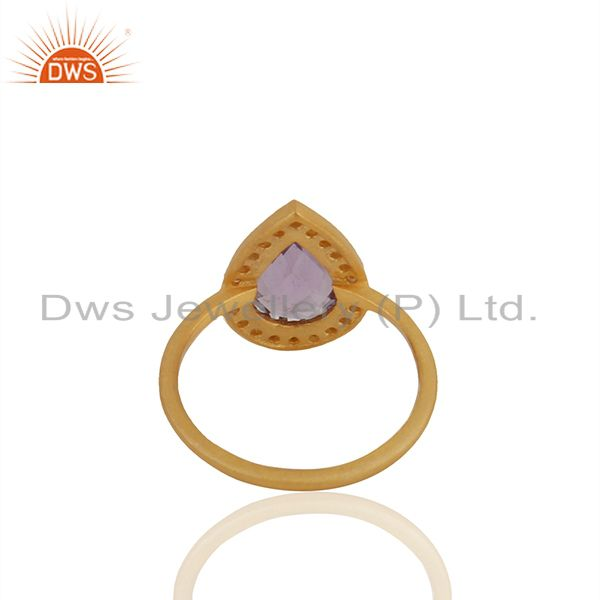 Suppliers Pear Shape Amethyst Birthstone White Topaz 925 Silver Gold Plated Ring