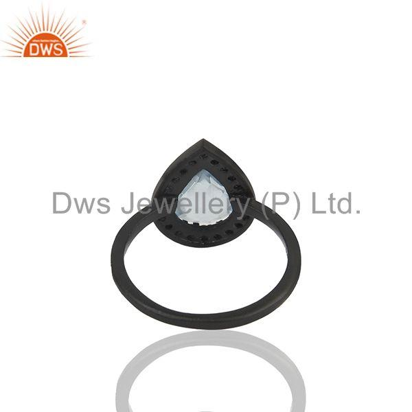 Suppliers Blue and White Topaz Black Sterling 925 Silver Ring Manufacturer