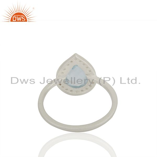 Suppliers Blue and White Topaz Solid 925 Sterling Silver Promise Rings Jewelry