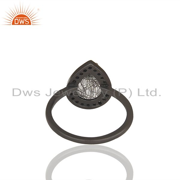 Suppliers Black Rutile Quartz Gemstone 925 Sterling Silver Girls Rings Jewelry
