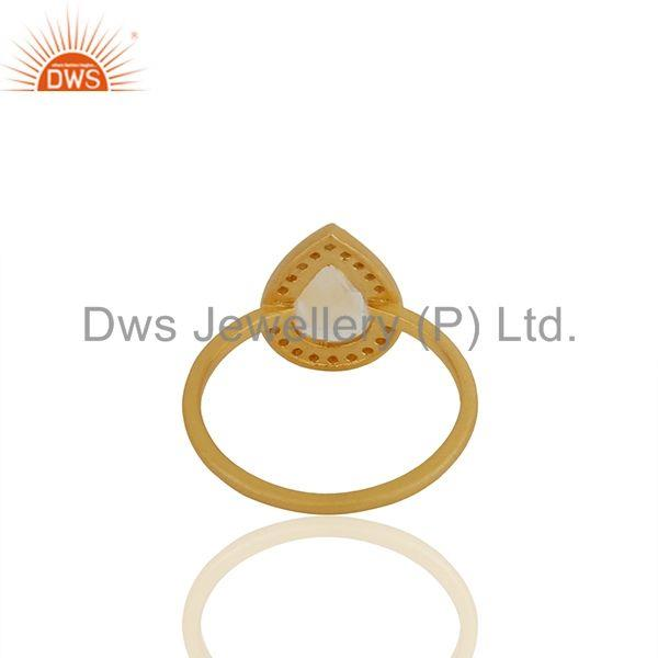 Suppliers Pear Shape Crystal Quartz Gold Plated 925 Silver Girls Ring Wholesale