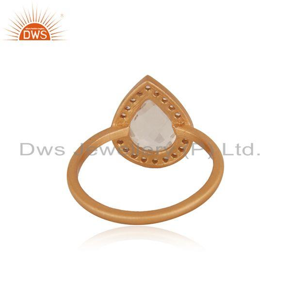 Suppliers White Topaz and Crystal Quartz Rose Gold Plated Silver Ring Manufacturer India