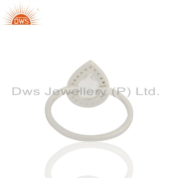 Suppliers Clear Crystal and White Topaz 925 Fine Silver Ring Jewelry Wholesale