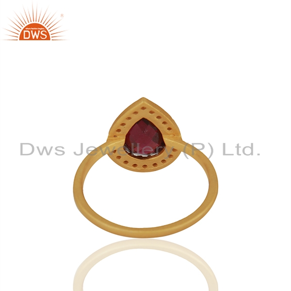 Suppliers Natural Garnet and White Topaz Gemstone Gold Plated Silver Rings