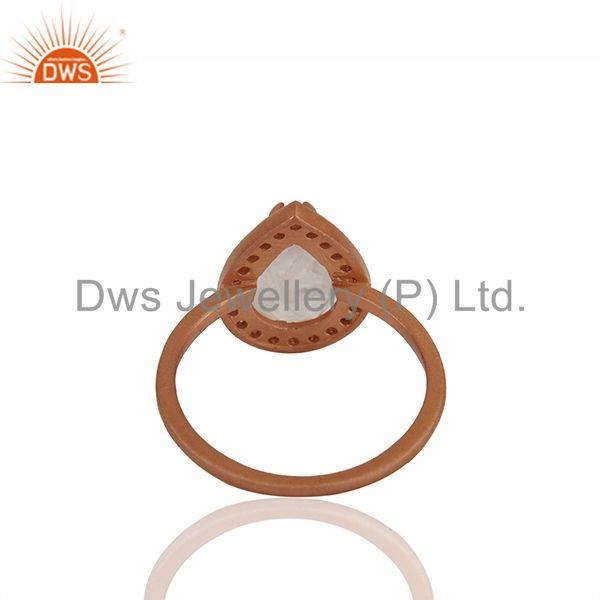 Suppliers Rose Gold Plated Sterling Silver Rose Quartz Gemstone Ring Supplier
