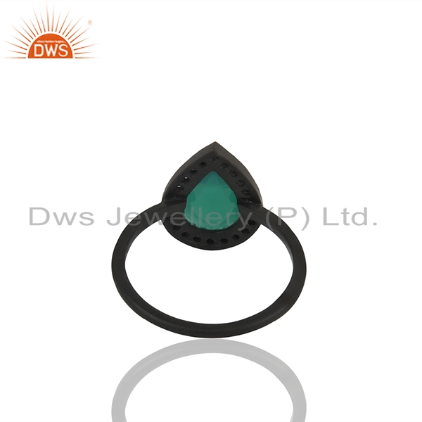 Suppliers White Topaz and Green Onyx Gemstone 925 Silver Stackable Rings Jewelry