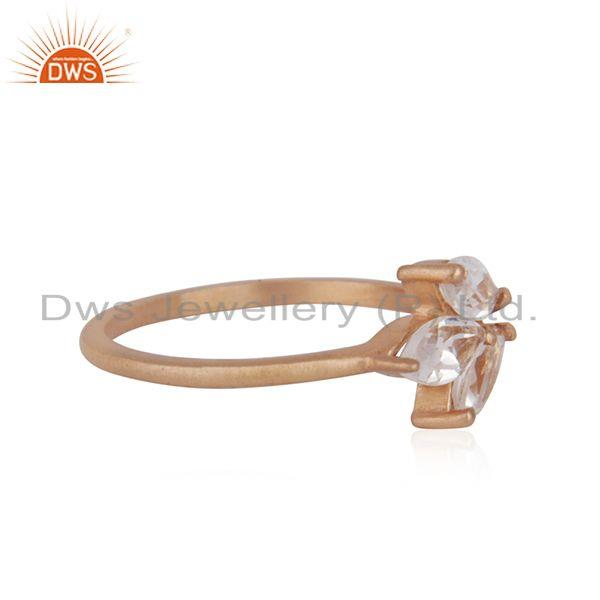 Suppliers Leaf Rose Gold Plated Silver Crystal Quartz Gemstone Ring Jewelry