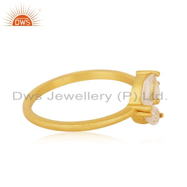 Suppliers Crystal Quartz Stone 14k Gold Plated 925 Silver Designer Ring Manufacturer