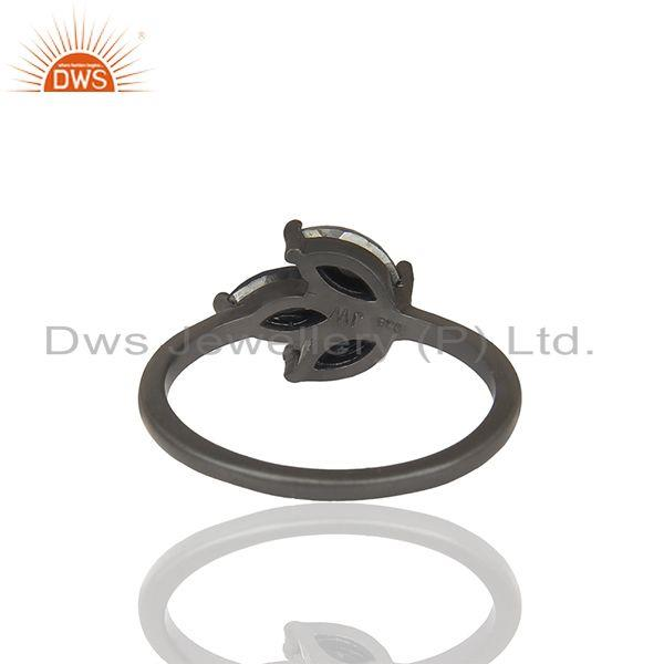 Suppliers Leaf Design Hematite Gemstone Black Color 925 Silver Rings Jewelry