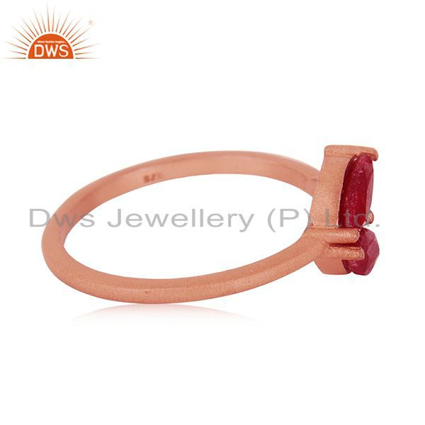 Suppliers Rose Gold Plated Sterling Silver Ruby Corundum Gemstone Ring Manufacturer India