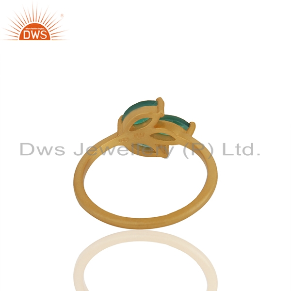 Suppliers Green Onyx Gemstone 925 Silver Gold Plated Stackable Ring Wholesale