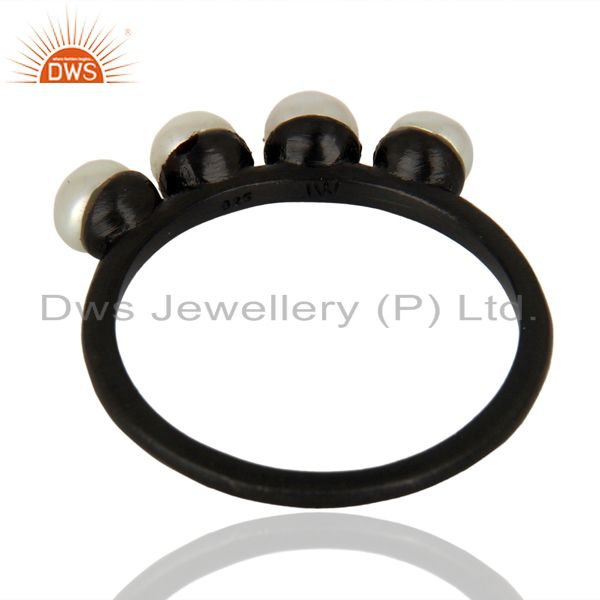 Suppliers Pearl Band Black Oxidized 925 Sterling Silver Ring Gemstone Jewelry