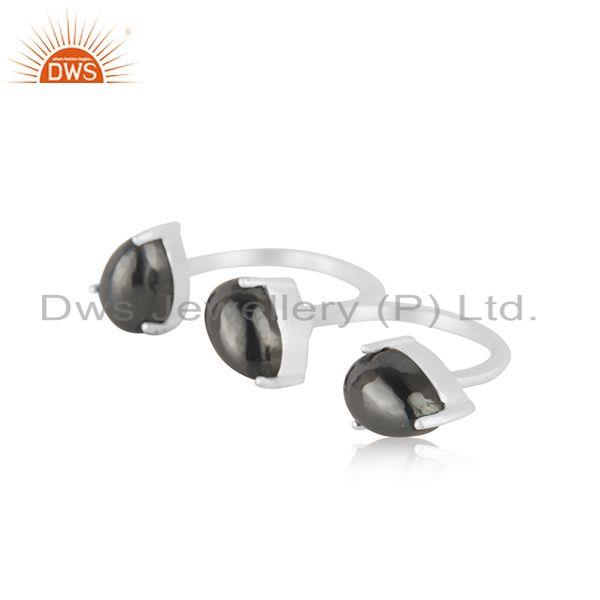 Suppliers Hematite Gemstone Wholesale Sterling Silver Double Finger Ring Jewelry