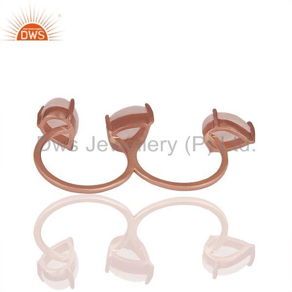 Suppliers Rose Quartz Gemstone Rose Gold Plated Silver Multi Finger Rings