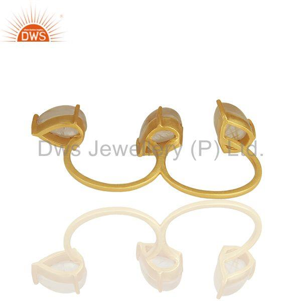 Suppliers Golden Rutile Quartz Gemstone 92.5 Silver Double Finger Ring Jewelry