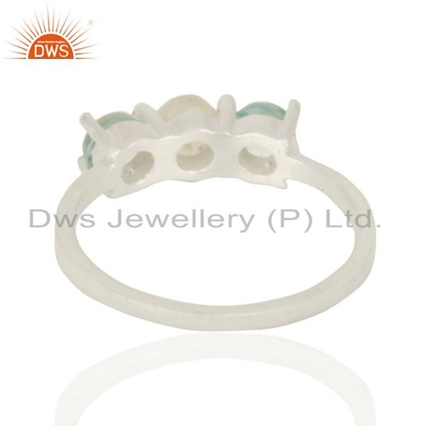 Suppliers Rainbow Moonstone Blue Topaz Stackable 925 Sterling Silver Ring Gemstone Jewelry