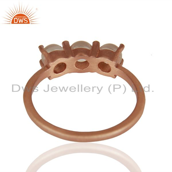 Suppliers Rose Gold Plated 925 Silver Three Gemstone Rings Manufacturer