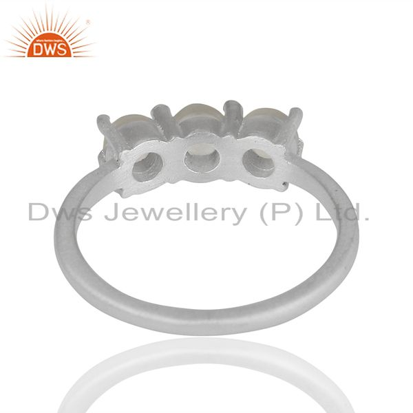 Suppliers White Rhodium Plated 925 Silver Three Gemstone Rings Supplier