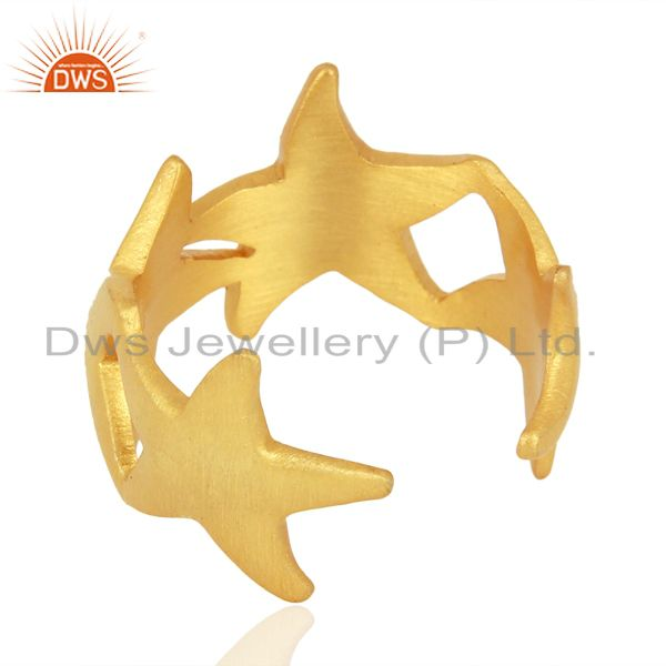 Suppliers Starfish Style 925 Sterling Silver 18K Yellow Gold Plated  Ring Jewelry