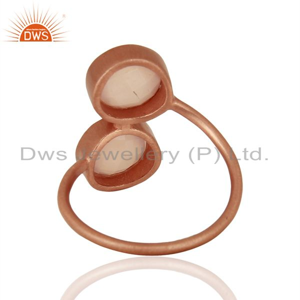 Suppliers Rose Gold Plated Rose Chalcedony Gemstone Rings Jewelry Supplier