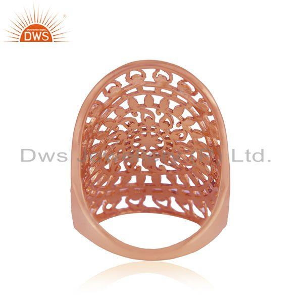 Suppliers Filigree Rose Gold Plated Designer Plain Silver Ring Jewelry Supplier