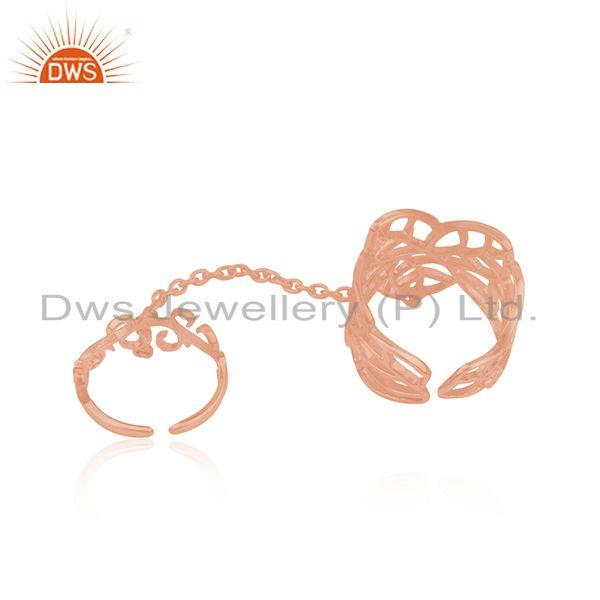 Suppliers CZ Rose Gold Plated Leaf Design Knuckle Ring Jewelry