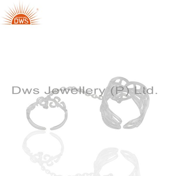 Suppliers White Rhodium Plated 925 Silver Filigree Design Double Finger Ring