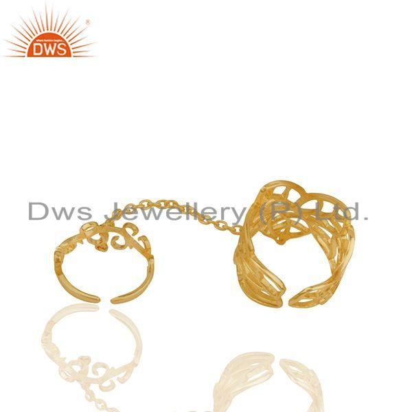 Suppliers Filigree Design Gold Plated 925 Silver Double Finger Girls Chain Ring