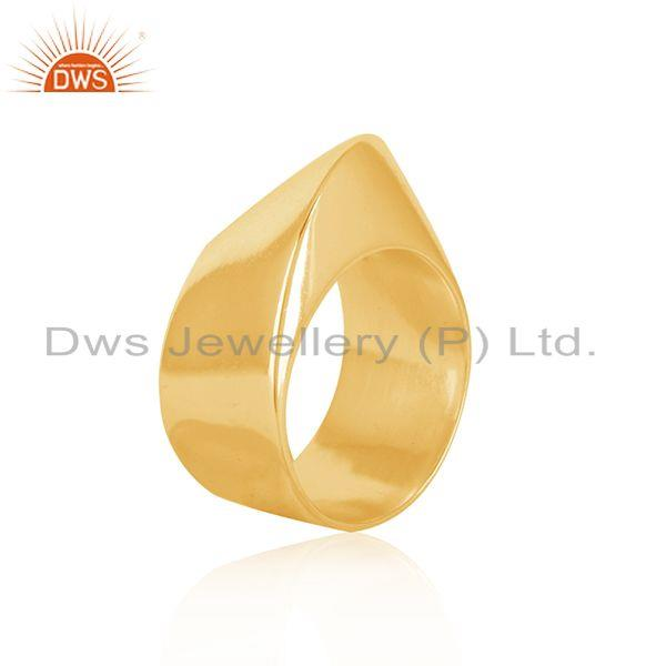 Suppliers Wholesale Art Deco Gold Plated Plain Silver Band Ring Jewelry For Girls