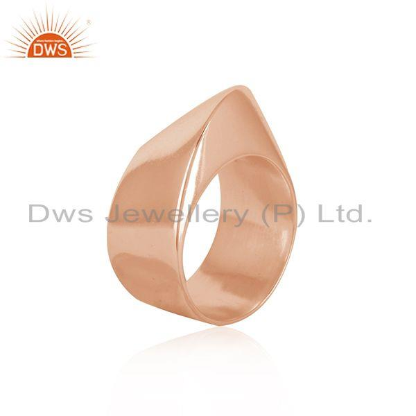 Suppliers Wholesale Rose Gold Plated Designer Plain Silver Band Ring Jewelry