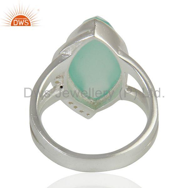 Suppliers White Topaz Aqua Chalcedony Gemstone Sterling Fine Silver Ring Jewelry