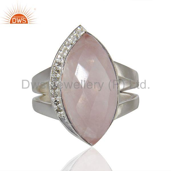 Suppliers Rose Quartz Gemstone White Topaz Gemstone Sterling Fine Silver Ring
