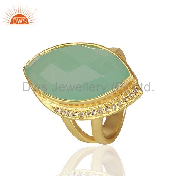 Suppliers Aqua Chalcedony and Cz Gemstone 925 Silver Rings Manufacturers
