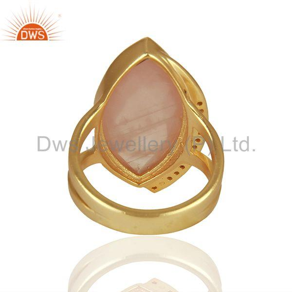 Suppliers Rose Quartz and Cz Gemstone 925 Sterling Silver Rings Manufacturers