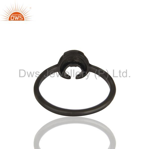 Suppliers Horse Shoe Design Black 92.5 Silver Stackable Rings Manufacturers